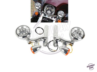 Chrome Motorcycle LED Turn Signal Spotlight Fog Light Bracket case for Harley Electra Glide FLHX FLHXXX