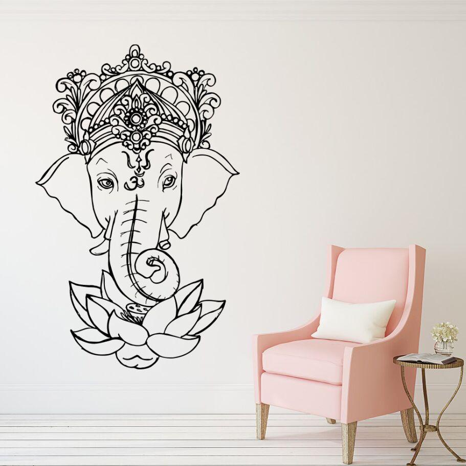 Home & Garden Kind-Hearted Elephant Vinyl Wall Stickers Yoga Ganesh Tribal Wall Mural Buddha Lotus Home Decor India Elephant Wall Decal Yoga Sticker Ay1278 Street Price