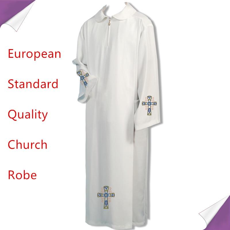 BLESSUME Catholic White Alb Vestments Solid Robe Church Clergy Vestments Catholic Cassock Priest Chasuble Cope Robe Cattolico