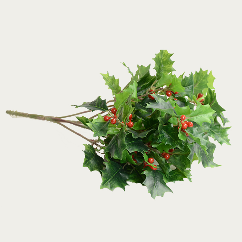 6 pcs/lot Green Artificial Holly Fruit Berry Bouquet Flower Leaves Silk Flowers Fruits For ...