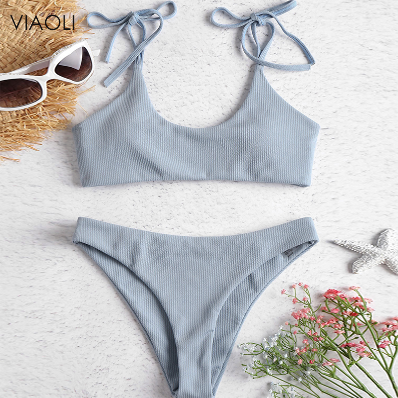 Sexy Solid Ribbed Swimsuit Women BIKINI Set 2018 New Shoulder Lace-up Bathing Suit Tankini Push Up Swimwear Maillot De Bain Girl image
