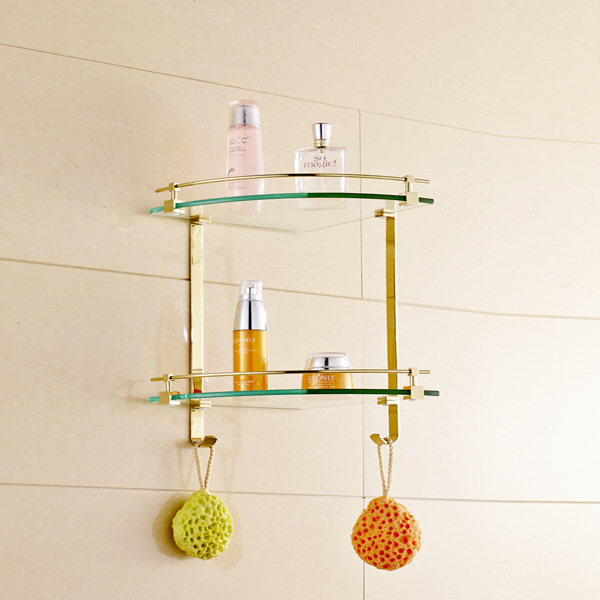 New Bathroom Gold Finish Glass Corner Shelf Shower Caddy Storage Dual Tiers With Hooks In