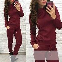 좋은 판매 여성 여름 섹시한 패션 간단한 긴 소매 긴 바지 스웨터 점퍼 스포츠 세트