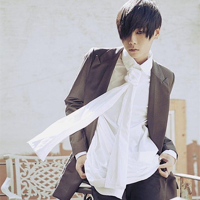 Volný čas módní šátek límec dekorativní rukáv košile límec osobnost self-pěstování vertikální šikmý lem offbeat košile muž