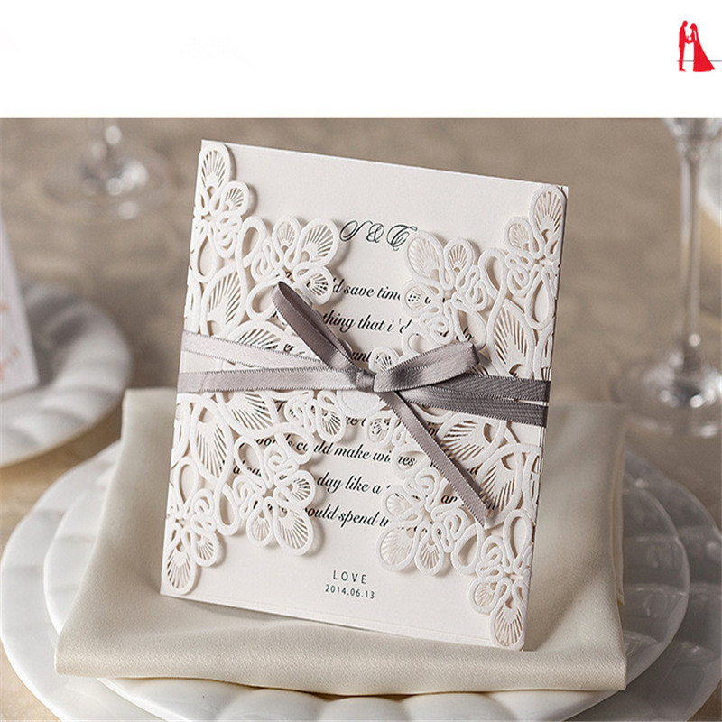 10pcs/pack Romantic Laser Cut White Wedding Invitation Cards Hollow Flower Lace Birthday Party Card Greeting Cards With Envelope retro hollow kraft paper greeting card creative business gift card father s mothers day blessing card wedding cards 10pcs pack
