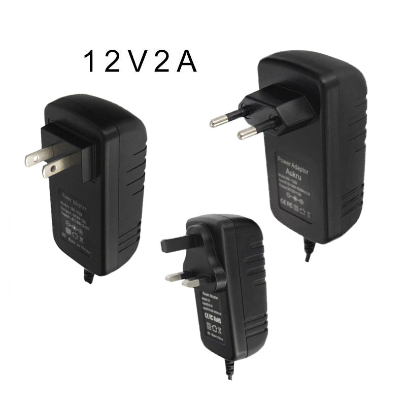 High Quality 12v 2.0A adapter power supply EU US UK plug battery DC 5.5mm*2.5mm cctv accessory power supply DC12V for camera dc 12v 2a ac adapter power supply transformer for surveillance cameras cctv 24w 5 5 2 1mm high quality us plug