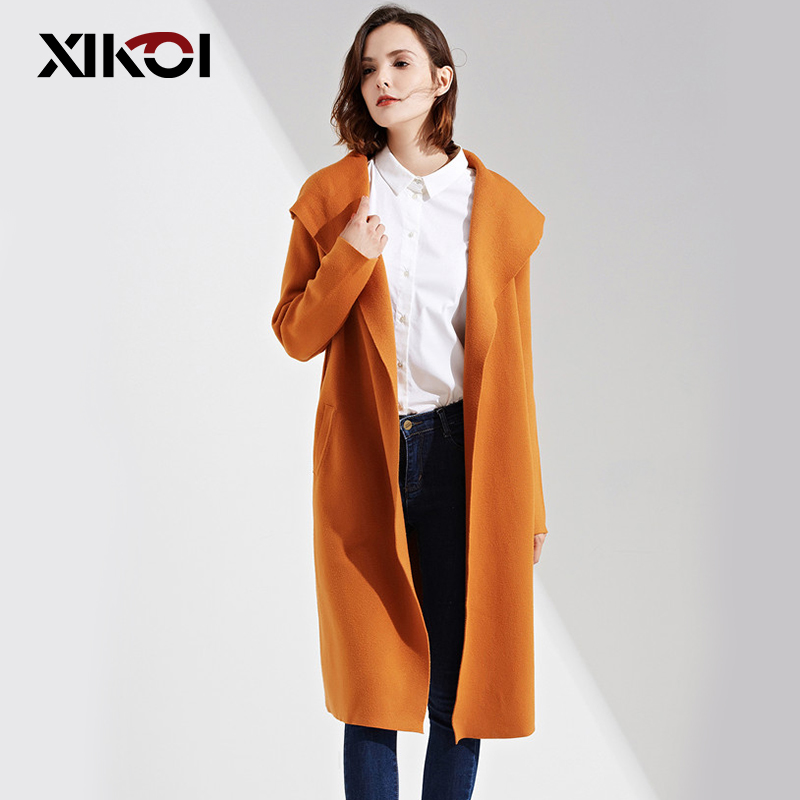 XIKOI Winter Fashion Women Long Sweaters Coat Slim Hooded Solid Color Pockets Knitting Sweater Ladies Thick Sweaters Cardigans