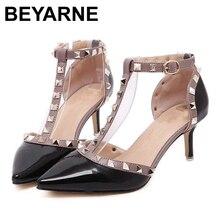 BEYARNE taille 34.43 classique femmes t-strap bout pointu rivet talons minces chaussures simples femal frais découpe milieu vide chaussures