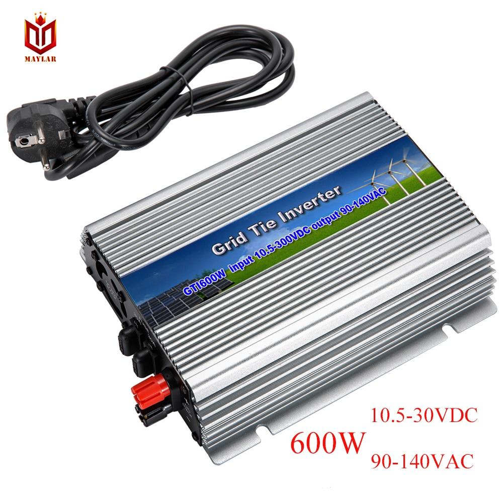 MAYLAR@ 600W Solar Power Grid Tie Micro Inverter With MPPT,Input 10.5-30VDC,Output 110V/120V/127VAC, For Vmp18V Panels 600w grid tie inverter 10 5 30vdc input solar wind power inverter 180 260vac or 90 140vac output on grid tie inverter