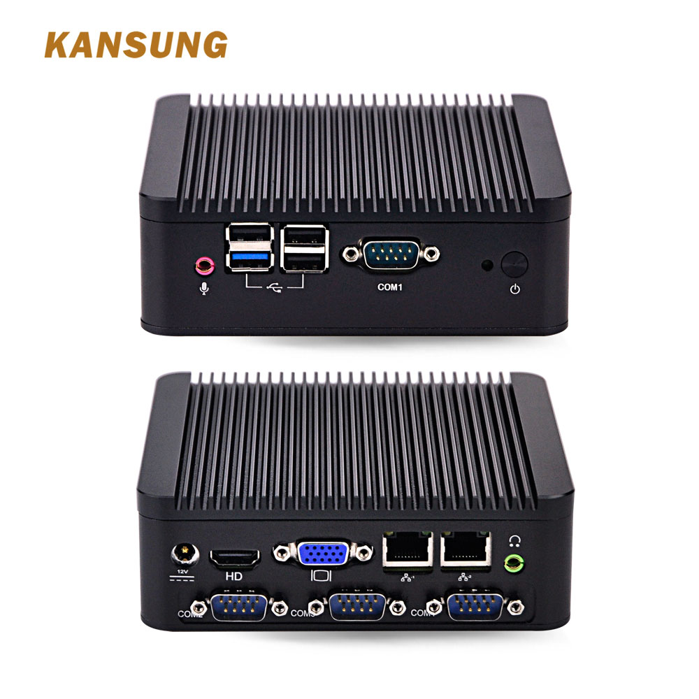 New Cheap 2 Ethernet Lan Fanless Industrial Computer Dual Core Personal Computer J1800 Barebone System 12V Mini PC Win 10 X86