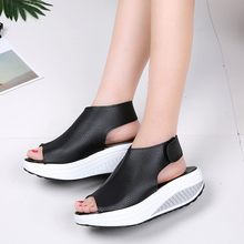 Europe Women Sandals 2019 New Summer High-heel Wedges Platform Shoes Woman Fashion Casual Hook & Loop Low-cut Plus Size 35-43
