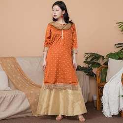Новый индийский модный женский комплект в этническом стиле, хлопковое индийское платье, тонкий костюм, элегантный женский длинный топ +