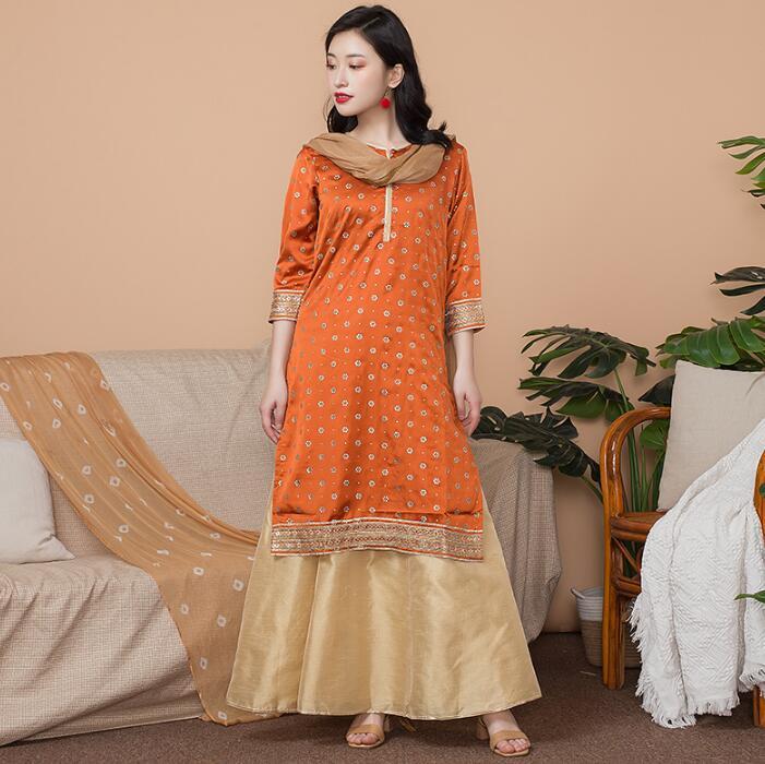 Nouveau inde mode femme Styles ethniques ensemble coton inde robe mince Costume élégant dame Long haut + jupe + écharpe