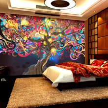 Custom Wall Mural Wall Painting European Style 3D Stereoscopic Wallpaper Bar KTV Cafe Abstract Art Money Tree Mural Decor Paper(China)