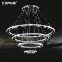 Mirror Stainless Steel Crystal Diamond Lighting Fixtures 4 Rings Led Pendant Lights Cristal Dinning Decorative Hanging