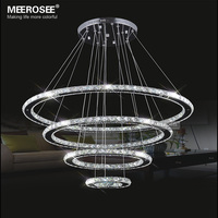 Mirror Stainless Steel Crystal Diamond Lighting Fixtures 4 Rings Led Pendant Lights Cristal Dinning Decorative Hanging