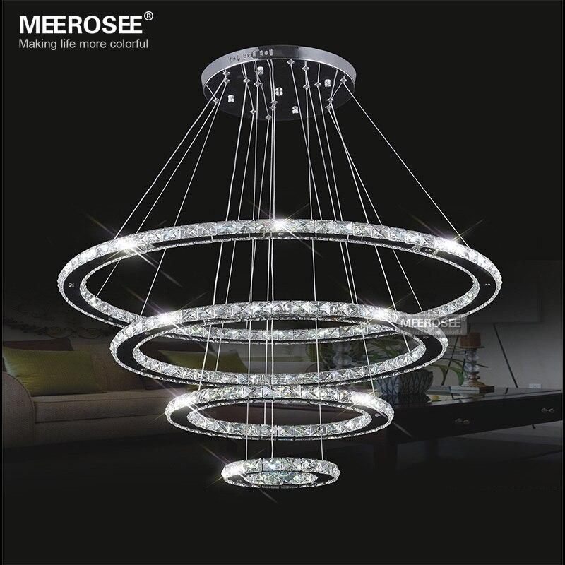 Miroir En Acier Inoxydable Cristal Diamant Luminaires 4 Anneaux led Pendentif Lumières Cristal Salle À Manger Lampe Suspendue Décorative