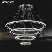 Mirror Stainless Steel Crystal Diamond Lighting Fixtures 4 Rings led Pendant Lights Cristal Dinning Decorative Hanging Lamp