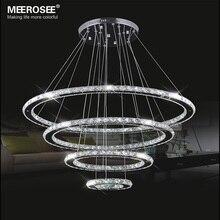 Ayna Paslanmaz Çelik Kristal Elmas Aydınlatma Armatürleri 4 Yüzükler led Kolye Işıkları Cristal Yemek Dekoratif Asılı Lamba