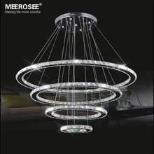 Mirror Stainless Steel Crystal Diamond Lighting Fixtures 4 Rings led Pendant Lights Cristal Dinning Decorative Hanging Lamp(China)