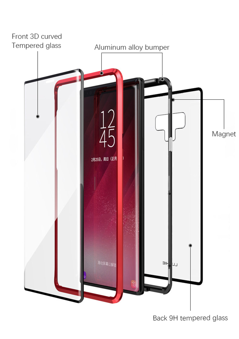 Luxury 360 Double sided front+back glass Magnetic case for samsung galaxy s9 plus note 9 Aluminum metal magnet case cover coque  (3)