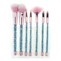 Bling 7PCS Aquarium Liquid Glitter Brush Set Mermaid Makeup Brushes Pincel Kit Portable Eyebrow Eyeshadow Brush