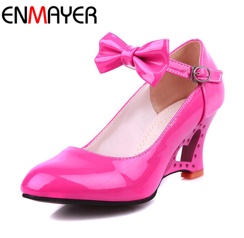Wedges Women Shoes Sweet Heart Princess Bow Women Wedding Shoes Fretwork Wedges Medium Heels Casual Women Pumps Plus Size 34-42