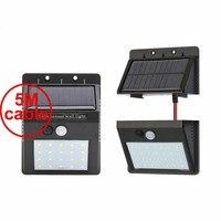 30 led 500lm luz solar dividir montagem pIR motion 3 senser 2018 Modern LED Lam Solar EU 5 M cabo rua lâmpada de parede para o convés da garagem|Lâmpadas solares| |  -