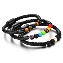 New Hot Fashion Charm Male Leather Bracelet Lava Chakra Stone Beads Black Stainless Bracelets For Men Punk Jewelry drop shipping(China)
