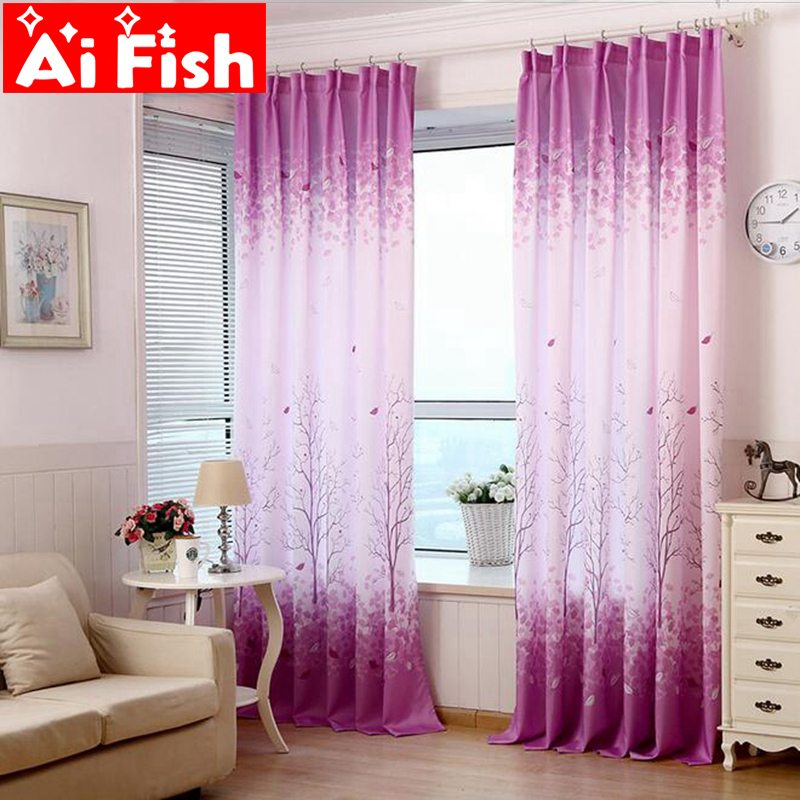 Semi Custom Drapes: Chinese Style Rich Tree Purple Printing Fabric Physical
