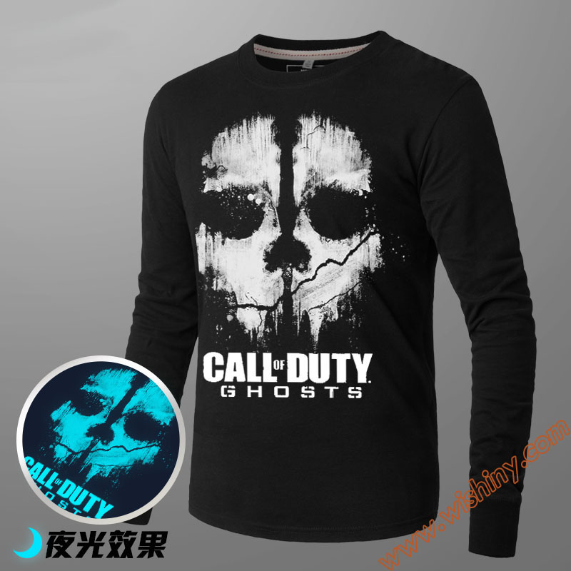 Game T Shirt Call Long Sleeve Tees Duty Unisex Autumn Winter L Crew Neck Loose Fit Luminous Blue