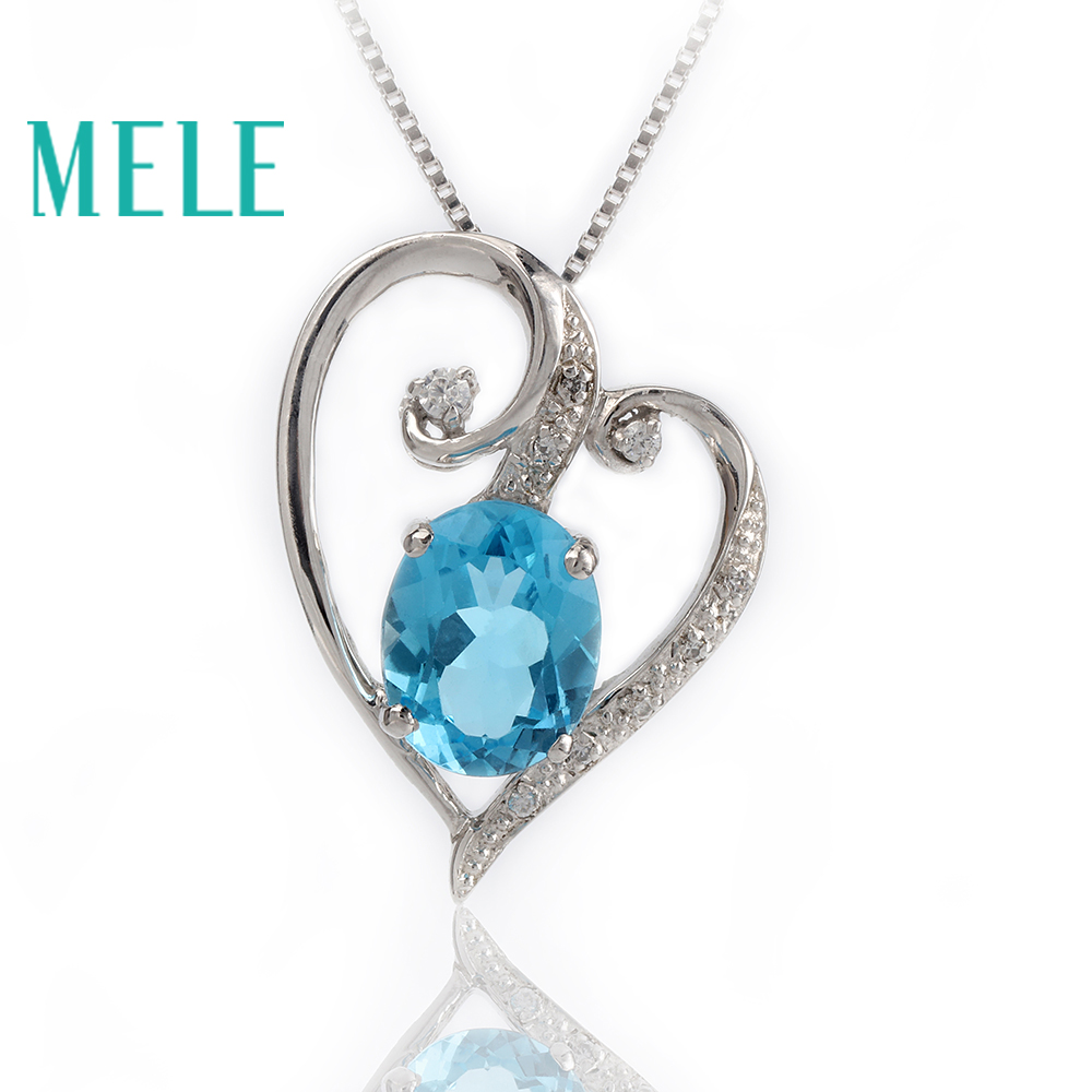 MELE Natural blue topaz silver pendant oval 8mm 10mm heart shape romantic and lovely deep blue