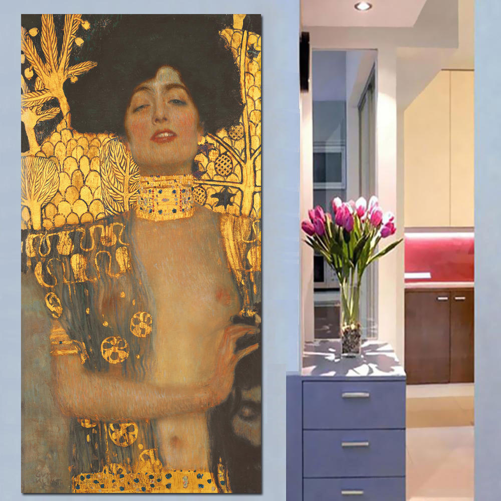 Gustav Klimt Kvinners Golden Canvas Paintings Classic Oljemaleri Wall Pictures For Stue Stor Lerret Kunst Dekorative Bilder