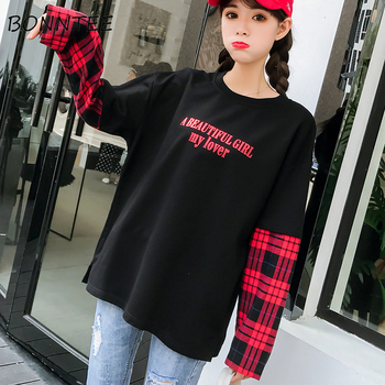 Long Sleeve T-shirt Women Hip-hop Ulzzang Tees Womens Patchwork Korean Style Fake Two Piece T-shirts Trendy Girls Chic Fashion diy crop top