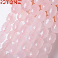 ISTONE 12x15MM Natural Rose Quartz Square Faceted Puffed Beads 16 Inch Pick Size Strand For Jewelry