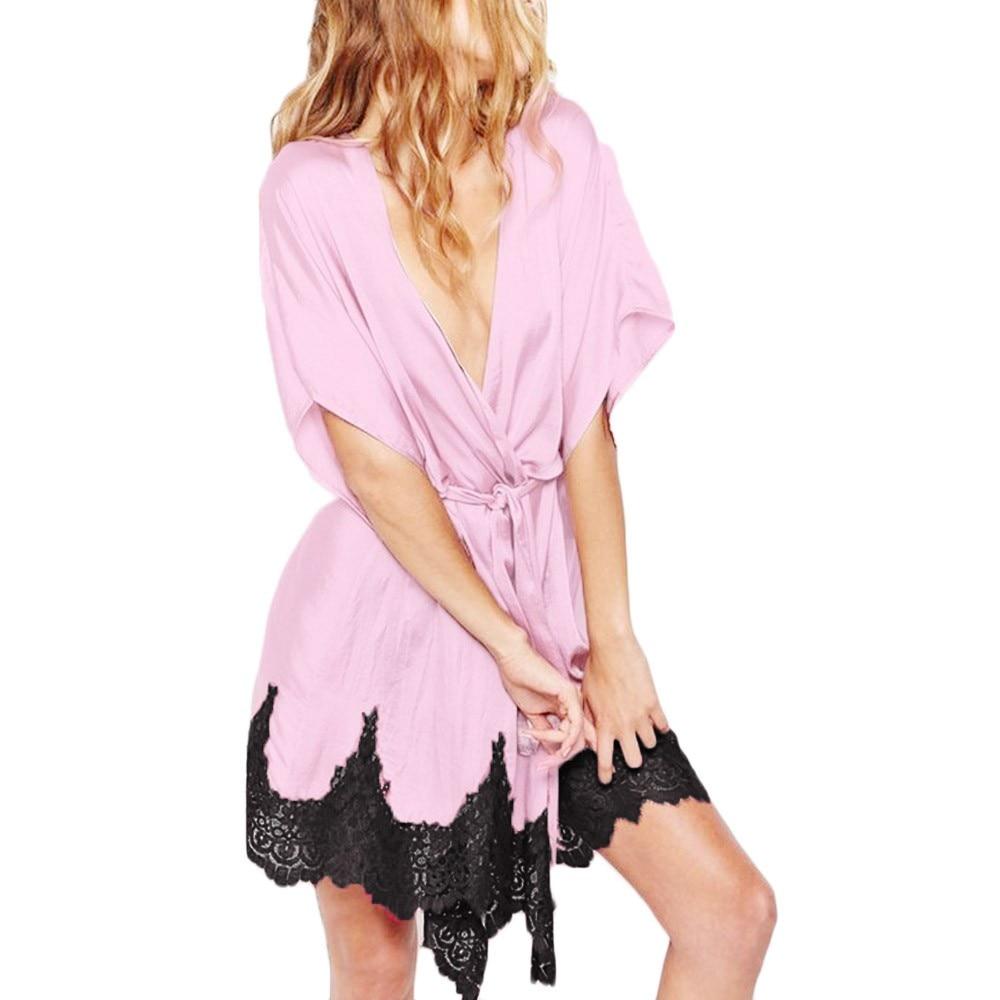 Yladies Sleepwear Half Sleeve Nightgowns Imitation Ice Silk Sleepwear Dresses Women's Casual Sleepwear Night#4