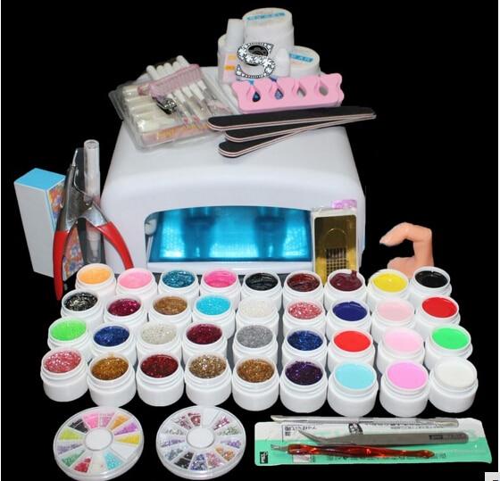 Professional Full Set 12 color UV Gel Kit Brush Nail Art Set + 36W Curing UV Lamp kit Dryer Curining Tools 2017 hot pro full 36w white cure lamp dryer 12 color uv gel nail art tools set kit
