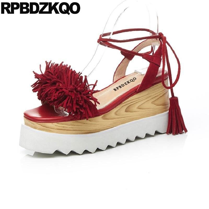 Platform Flatform Runway Red Pumps High Heels Strap Up Lace Sandals Fringe Big Size Designer Shoes Women Luxury 2017 Wedge Suede lace up flatform satin shoes
