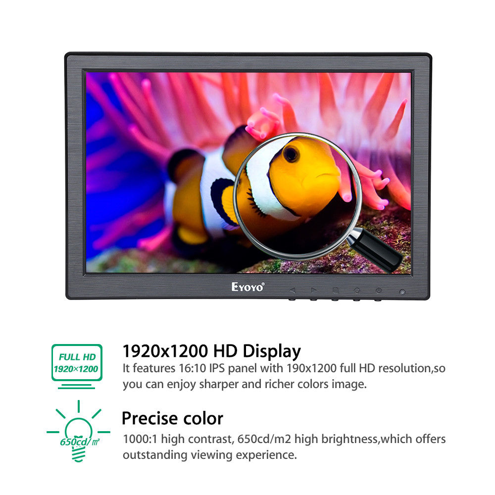 Eyoyo 10 Inch Full HD 1920*1200 Resolution IPS Monitor With BNC VGA AV HD Video Input 650cd/m2 For CCTV DVD PC Laptop DVR Camera