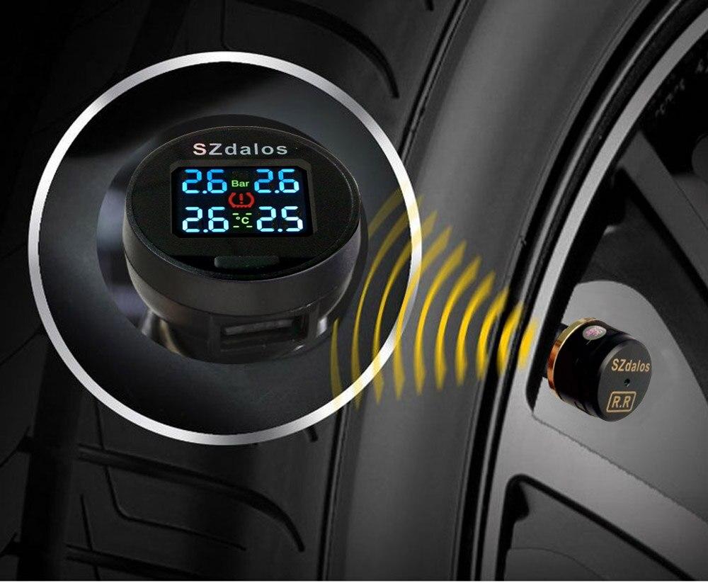 SZDALOS Voiture TPMS Système de Surveillance de Pression Des Pneus Sans Fil + 4 mini Externe Capteurs (0 ~ 6.8 bar/0 ~ 99 psi) Allume-cigare pgt