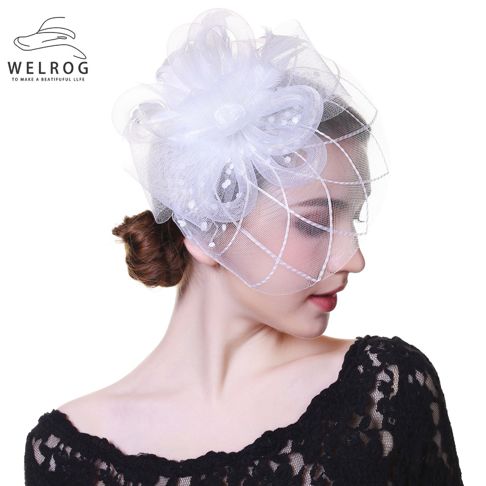 WELROG Fascinators Hat For Women Tea Party White Headband Kentucky Derby Wedding Cocktail Flower Mesh Feathers Hair Clip
