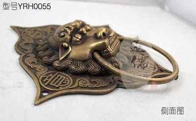 繊細な中国古典真鍮auspicousドアのノッカー、強大なライオン像リングプル