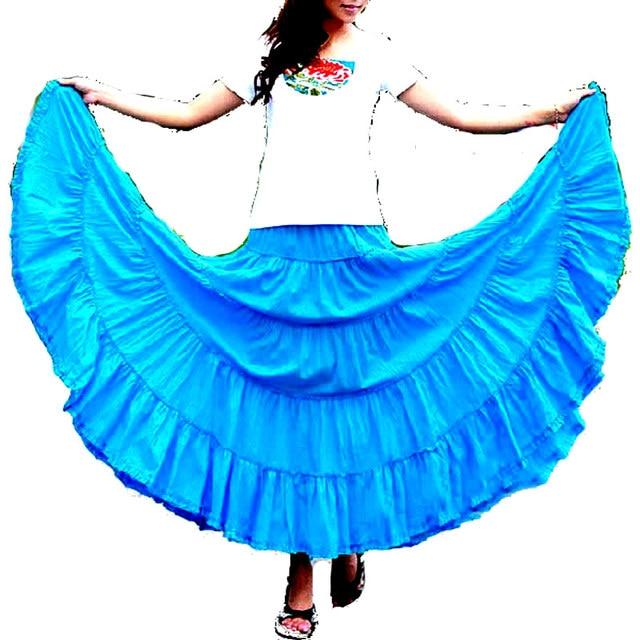 d21e1ce3f33 5 Layers Stitching Gypsy Bohemian BOHO Full Circle Cotton High Waist Maxi  Skirts Dancing Black Dirt Spain Pleated Long Skirts