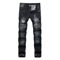 Men S Black Jeans Decorative Zipper Embroidery Craft Men S Stretch Pants Slim Fit Jeans Punk