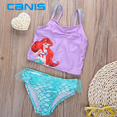 9e37a573a64fe Mermaid Swimwear Kids Swimming Bikinis Set Two Pieces Baby Girls Bathing  Suit Children Purpel Sequined Swimsuit