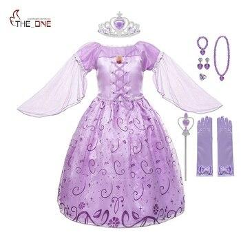 59f809ae3 MUABABY niñas Rapunzel vestido para arriba ropa manga voladora Floral  estampado enredado princesa disfraz niños Halloween fiesta Cosplay vestidos