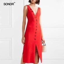 SONDR 2019 summer womens new cool V collar button red sleeveless slit hem slimming dress