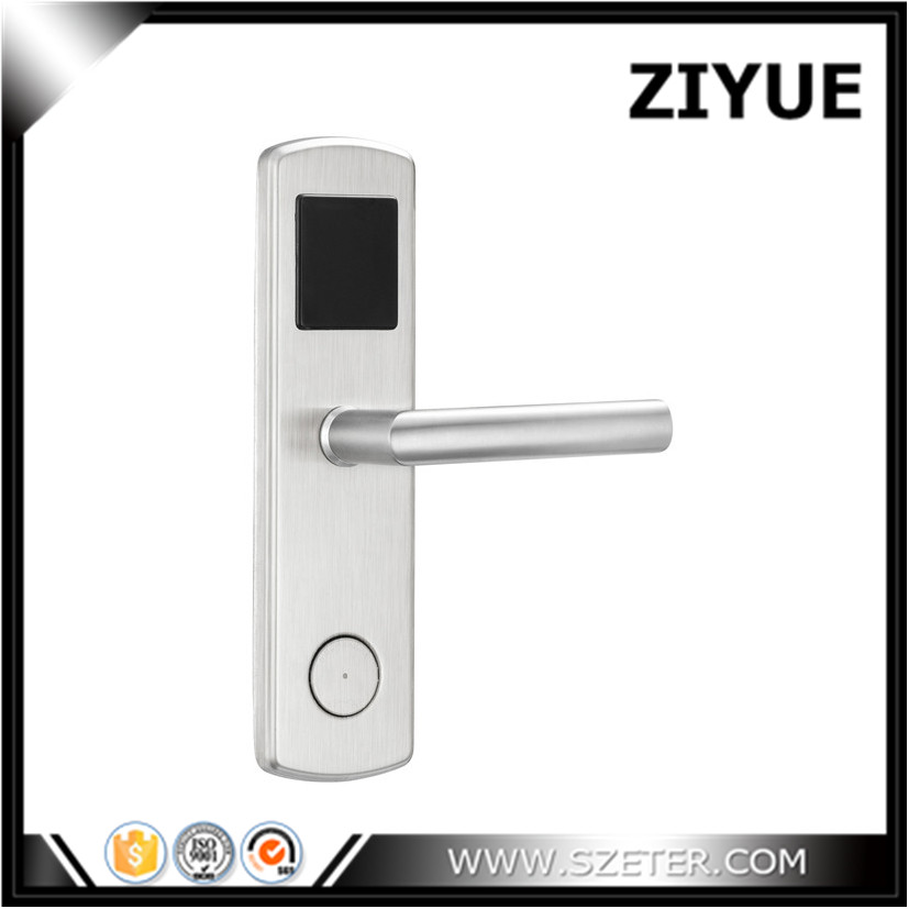 ZIYUE 304 Stainless steel 125khz Rfid Card RF ID Hotel Card Key Lock System for Hotel Office with Manual Key ET600RF