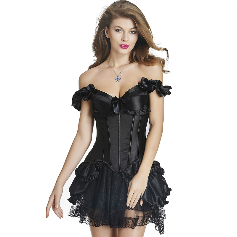 MOONIGHT Women Corsets Red Black Sexy Gothic Corsets Dress Women Corsets Hot Shapers Body Intimates Overbust Bustiers with Bow