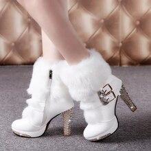 2016 Winter Fur Boots Women's Plush Warm Platform Ankle Boots Shoe side zipper buckle Woman High Heels fashion Shoes Black White
